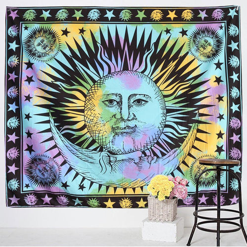 Sun and Moon Tapestry - Large Wall Lotus Mandala Tapestry
