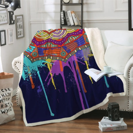Mandala Drip Fleece Blanket