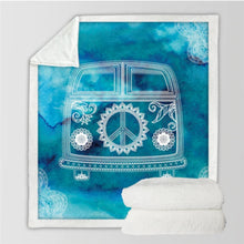 Load image into Gallery viewer, Peace Love + Travel Fleece Blanket