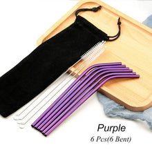 Load image into Gallery viewer, Purple Reusable Drinking Straw Set