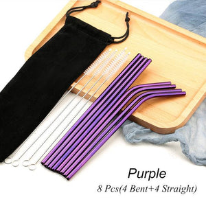 Purple Reusable Drinking Straw Set