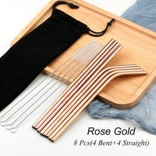 Load image into Gallery viewer, Rose Gold Reusable Drinking Straw Set