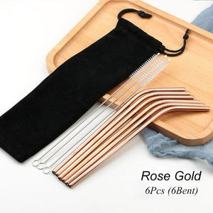 Rose Gold Reusable Drinking Straw Set
