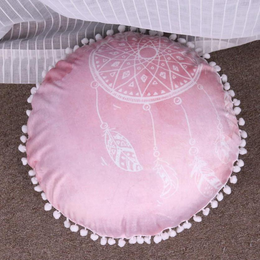 Rose Watercolor Dreamcatcher Floor Cushion Cover