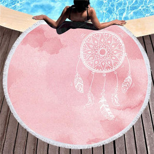 Rose Watercolor Dreamcatcher Roundie Beach Towel