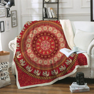Ruby Elephant Fleece Blanket