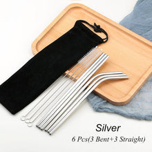 Load image into Gallery viewer, Silver Reusable Drinking Straw Set