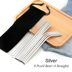 Silver Reusable Drinking Straw Set