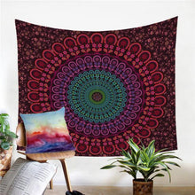 Load image into Gallery viewer, Burgundy Large Wall Lotus Mandala Tapestry