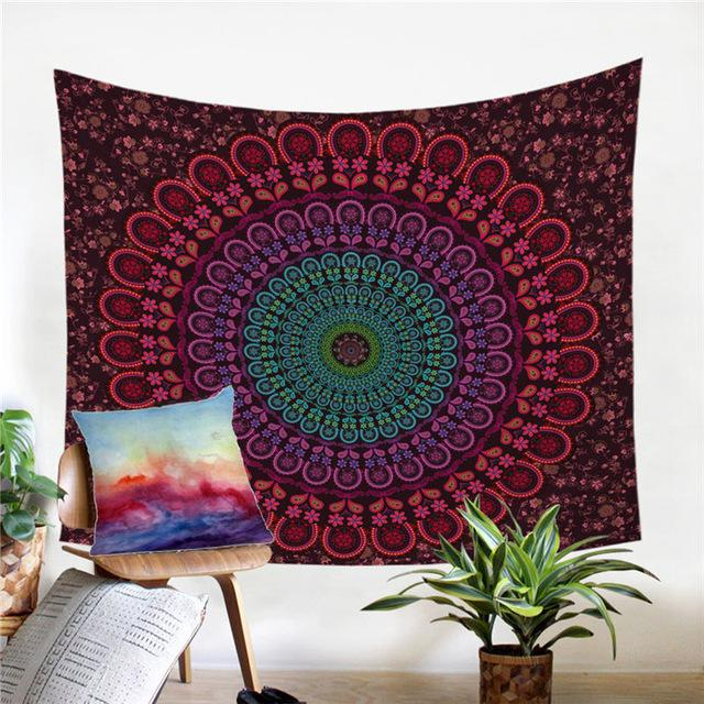 Burgundy Large Wall Lotus Mandala Tapestry