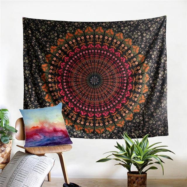 Orange Large Wall Lotus Mandala Tapestry