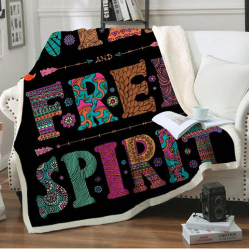Wild + Free Spirit (Black) Fleece Blanket