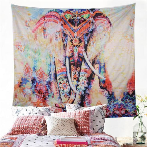 Rainbow Floral Elephant Tapestry - Large Wall Lotus Mandala Tapestry