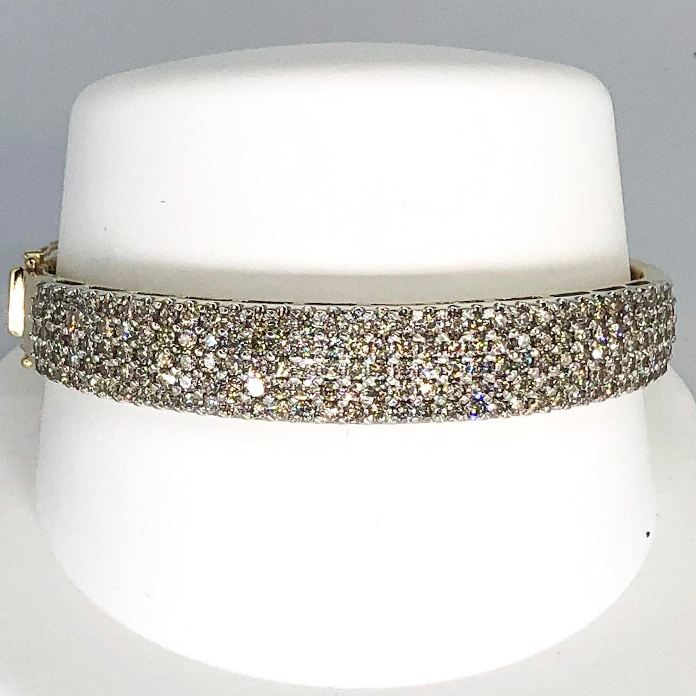 14K Yellow & White Gold Diamond Encrusted Hinged Bangle Bracelet CB0007