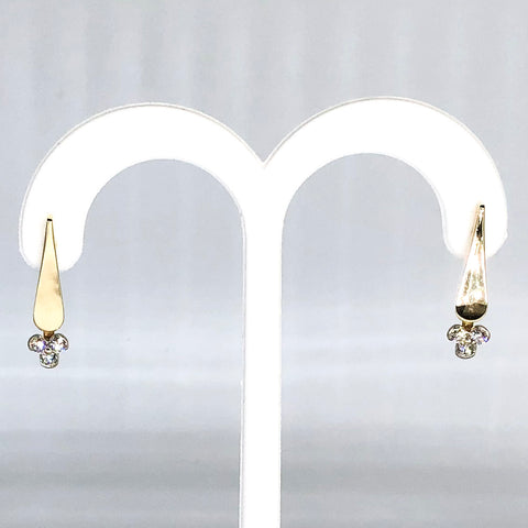 14K Yellow Gold Hand Forged Diamond Dangle Earrings
