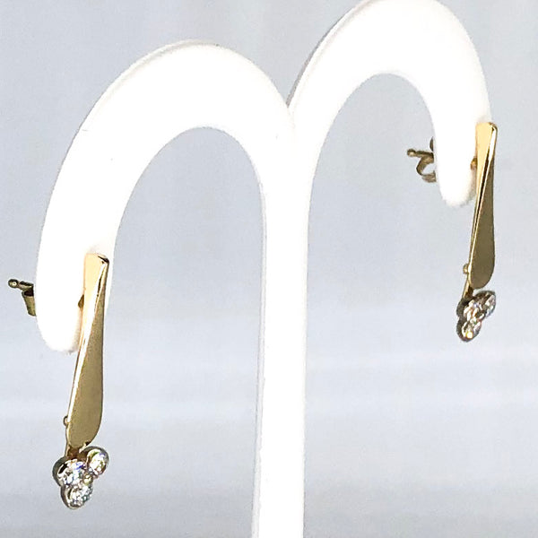 14K Yellow Gold Hand Forged Diamond Dangle Earrings CE0002
