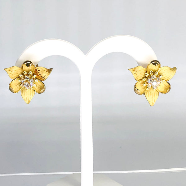 Stunning 18K Yellow Gold Tiffany Diamond Dogwood Earrings CE0005