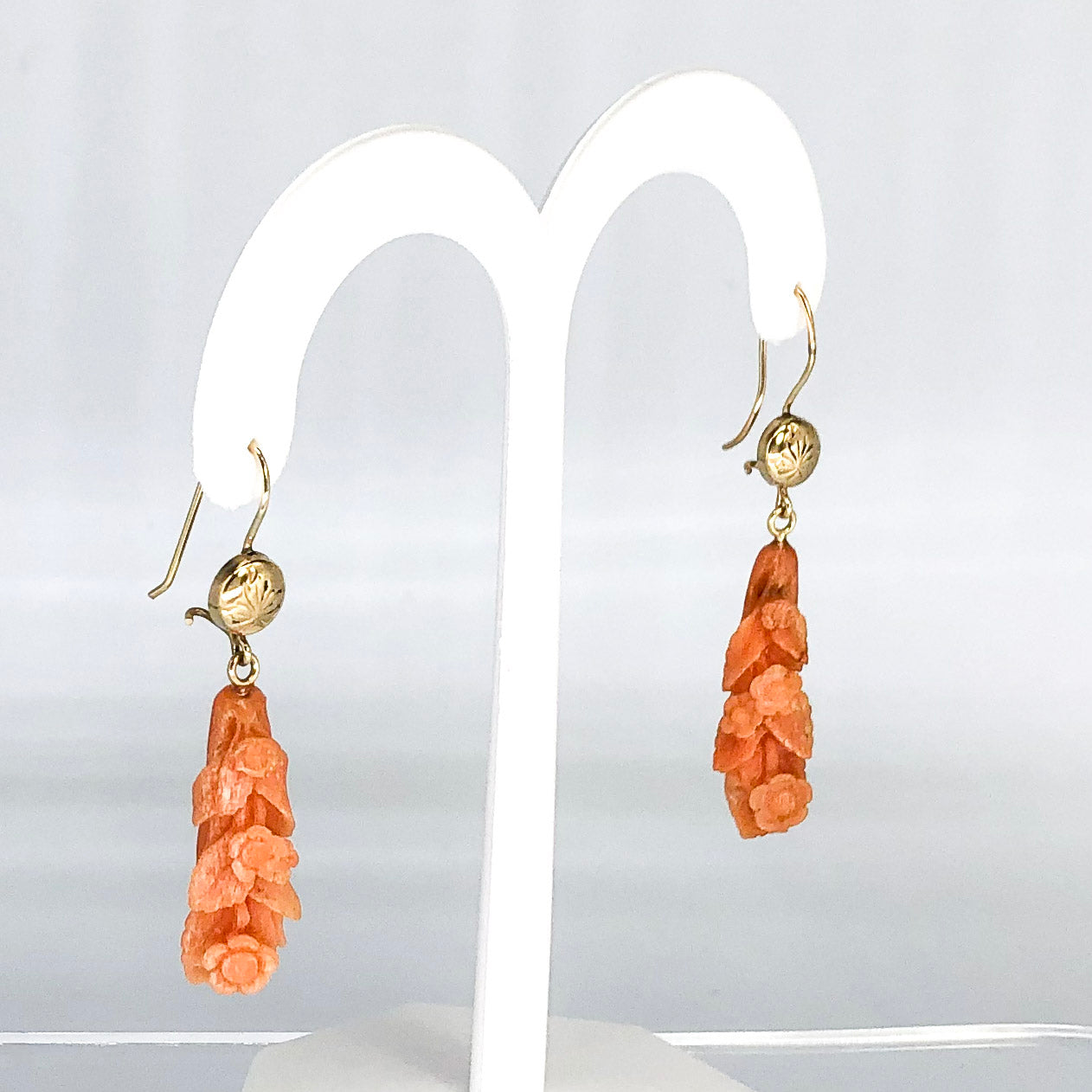 14K Yellow Gold Carved Coral Dangle Earrings CE0006