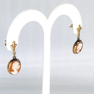 Vintage 14K Yellow Gold Dangle Cameo Earrings CE0007