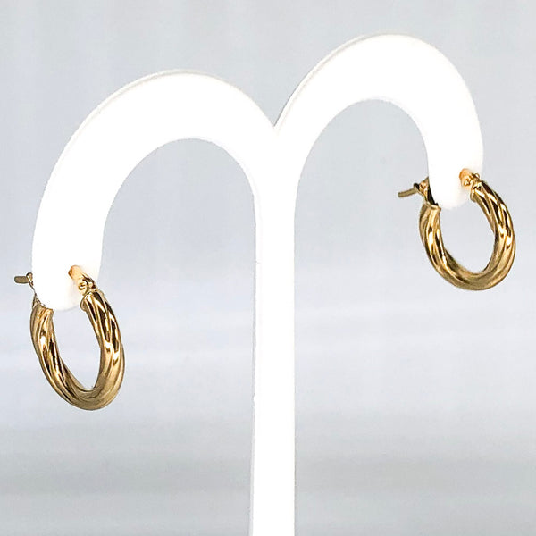18K Yellow Gold Small Twisted Hoop Earrings CE0008