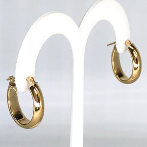 14K Yellow Gold Lightweight Oval Hoop Earrings CE0011