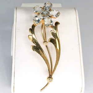 Amazing 14K Yellow Gold Retro Floral Pin CP0001