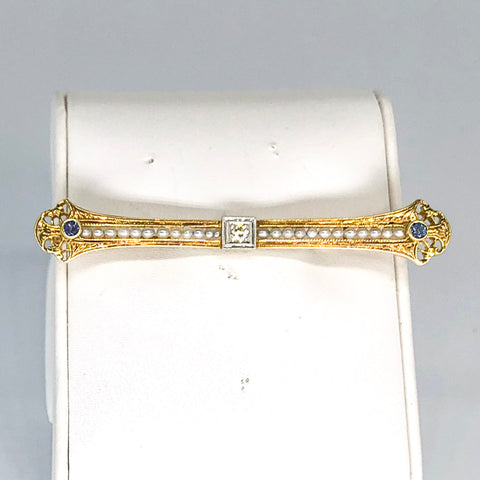 Vintage 14K Yellow Gold Diamond/Pearl/Blue Stone Bar Pin CP0004