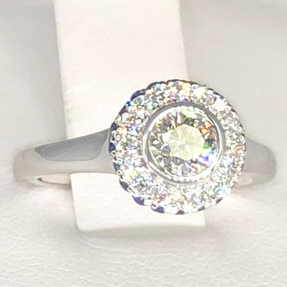 14K White Gold Diamond Halo Ring with Sapphire Accents CR0035