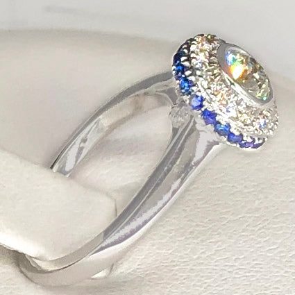 14K White Gold Diamond Halo Ring with Sapphire Accents