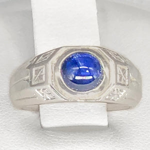 Vintage 20K WG Cabochon Blue Sapphire Ring CR0037