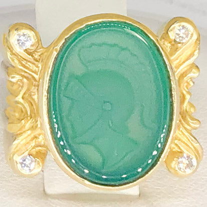 14K Yellow Gold Green Glass Cameo Ring