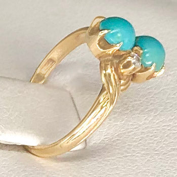 Antique 14K Yellow Gold Tiny Persian Turquoise Ring CR0043
