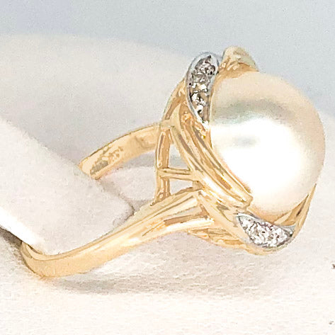 14K Yellow Gold Mabe Pearl Diamond Ring CR0044
