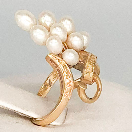 Vintage 14K Yellow Gold Long Cluster of Pearls Ring CR0047