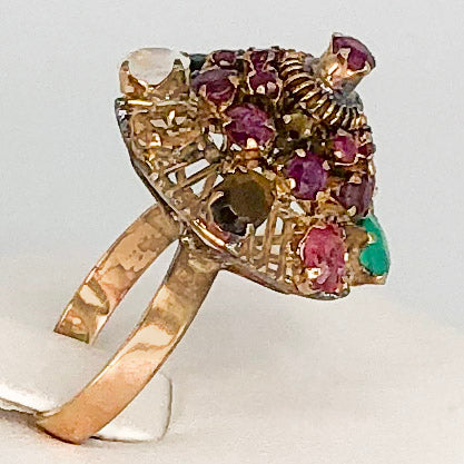 Vintage 18K Harem Ring with Semi-Precious Stones CR0049