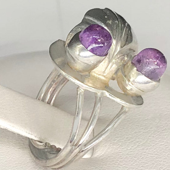 Vintage Silver Leaf Purple Stone Ring CR0054