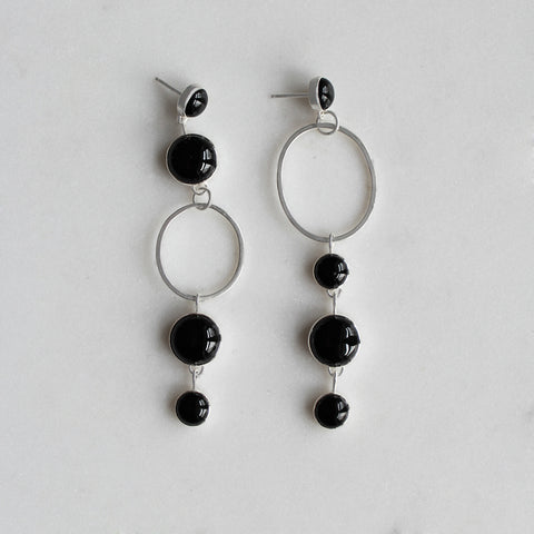 Dana Antonia - Handmade Sterling Silver Black Onyx Periphery Statement Earrings
