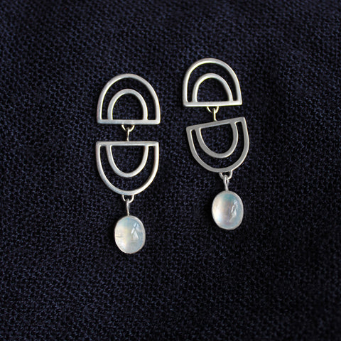 Dana Antonia - Handmade Silver Double Vision Moonstone Earrings EART0004
