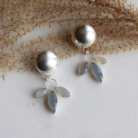 Dana Antonia - Chalcedony Statement Sterling Silver Earrings