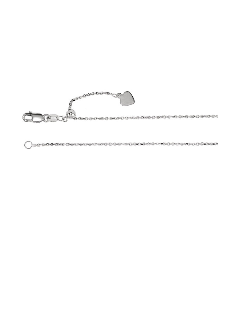 "Sterling Silver 30"" Adjustable Cable Chain"