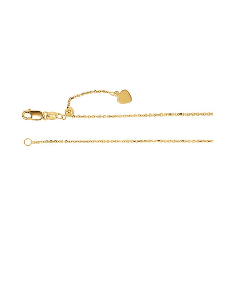 "14K Yellow Gold or White Gold 30"" Adjustable Chain"