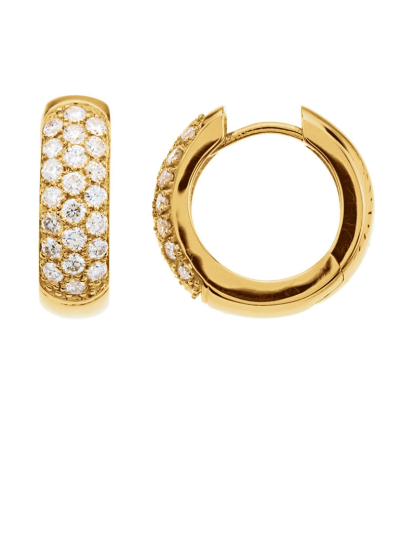 14K Gold Pave Diamond Hoop Earrings
