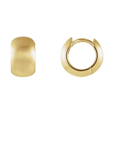 14K Gold Brushed Huggie Hoop Earrings