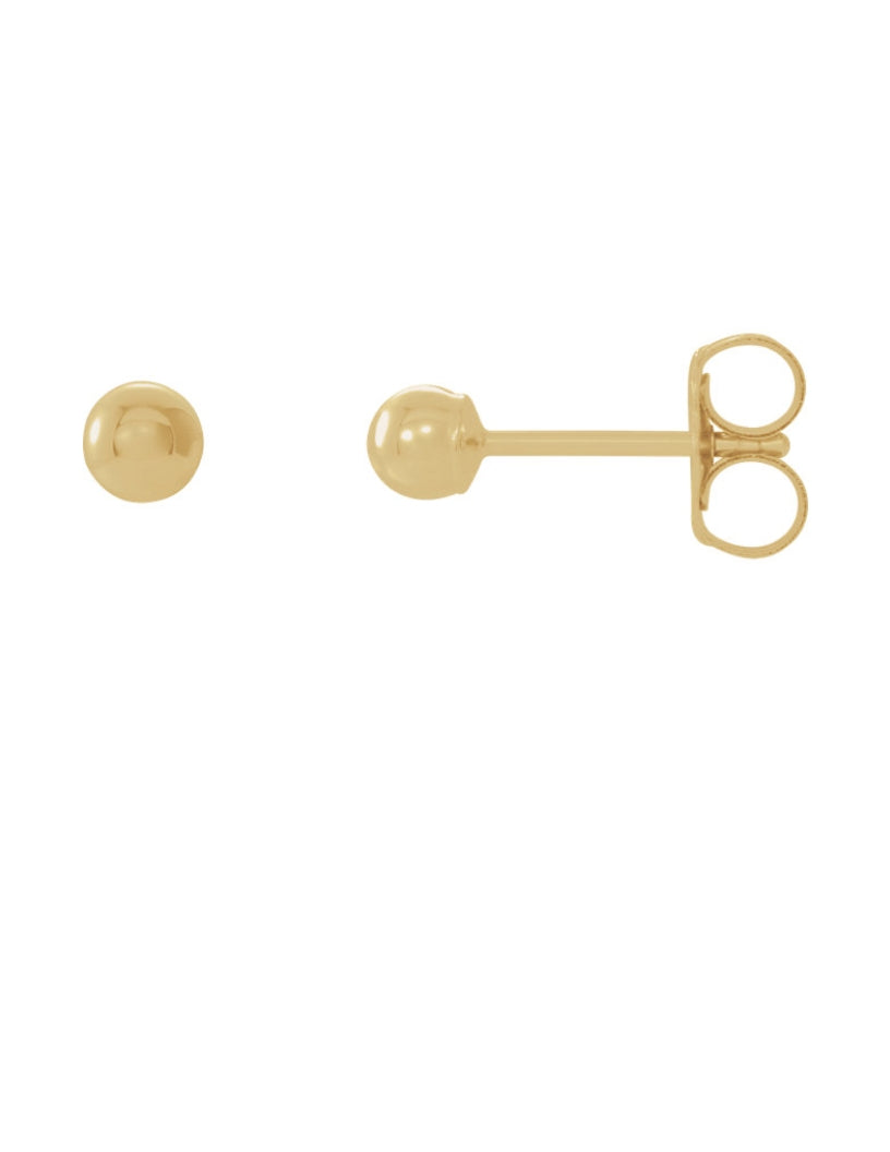 14K Gold 7mm Ball Stud Earrings