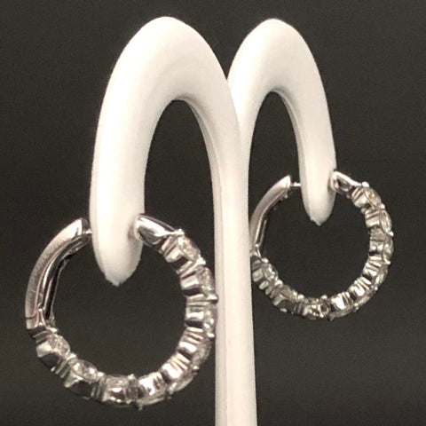 14K Yellow Gold or White Diamond Hoop Earrings