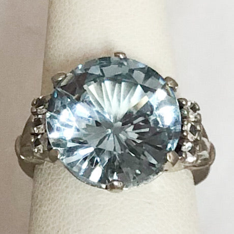 14K White Gold Ring with Light Blue Stone & Diam Accents   SI0151