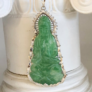 14K White Gold Jade Pendant w/Diamond Accents on New Chain CN0016