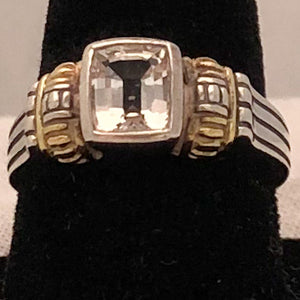 Sterling Silver with 18K Yellow Gold Trim Clear Stone Cable Style Ring  CR0178