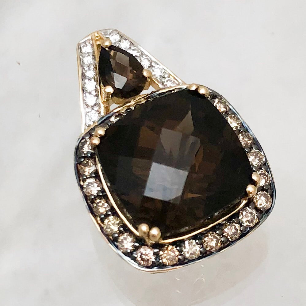 LeVian 14K Yellow Gold Cushion Checkerboard Smokey Topaz Pendant with Diamond Accents    CPEND0013