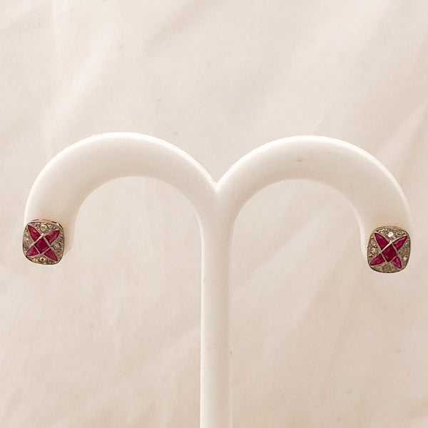 18K/14K Diamond Ruby Cluster Stud Earrings   CE0073
